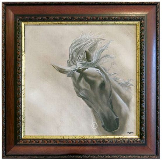 Andalusian horse portrait in oil on linen canvas and framed in brown wood with gold inner edge