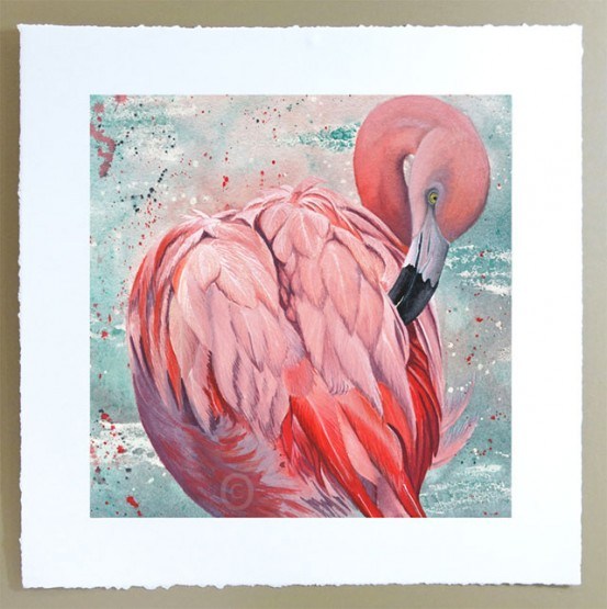 singed limited edition print of pink flamingo bird