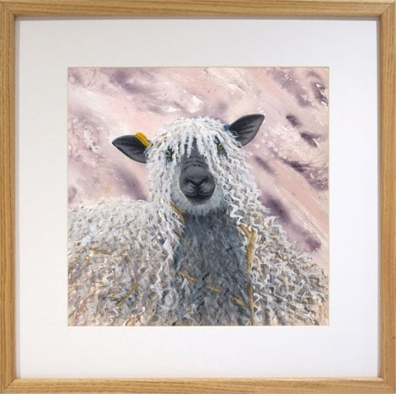 original watercolour painting of wensleydale sheep in oak frame