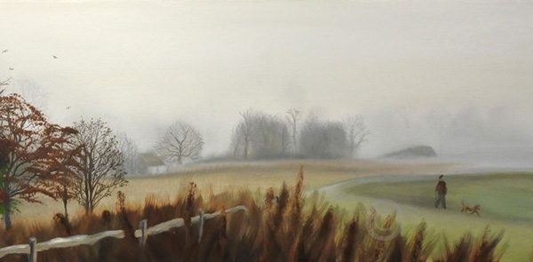 Misty river walk 2 - landscape of a view in the cuckmere valley from the river oil on canvas by artist Susan Taylor