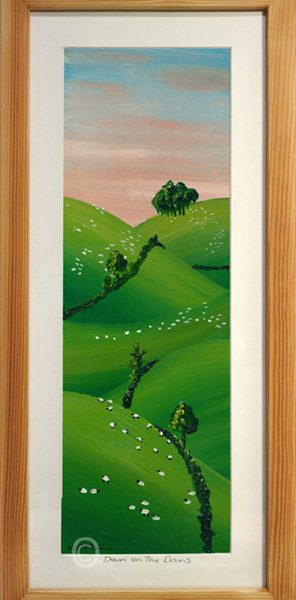 dawn on the south Downs oil painting in wood framed