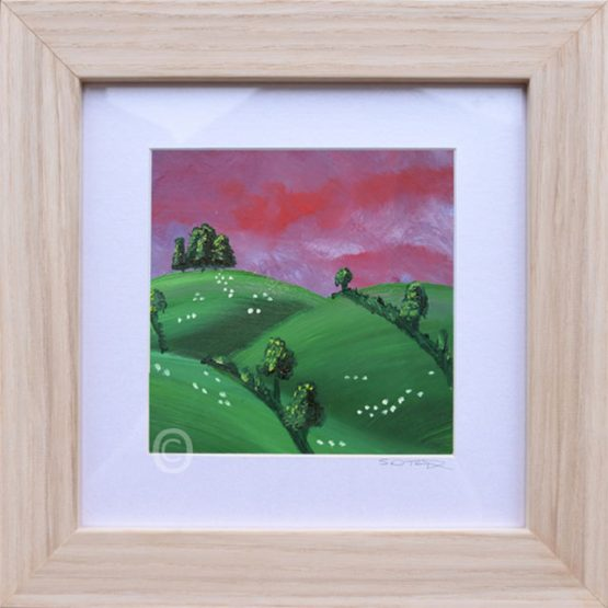 Purple Sunset No2 South Downs landscape art, oil painting framed in light wood