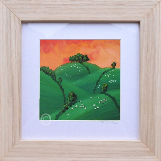 Orange Sunset South Downs landscape art, oil painting framed in light wood