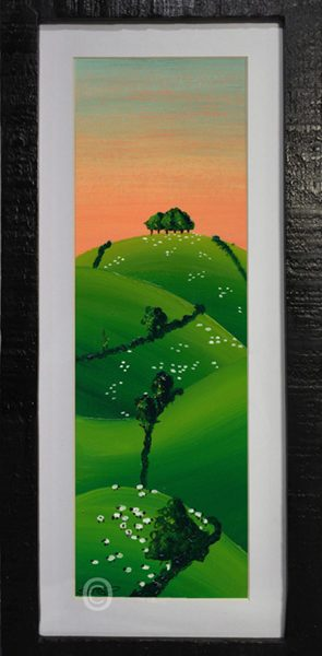 orange sunset on the south Downs oil painting in black framed