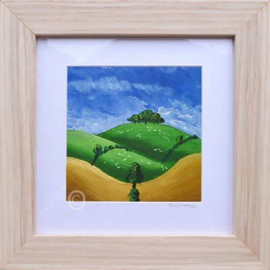 summers day no2 South Downs landscape art, oil painting framed in light wood