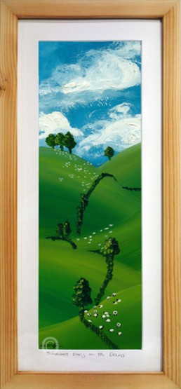 summers day on the south Downs oil painting in wood framed
