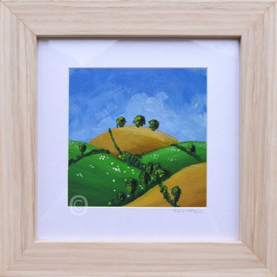 Summers Day No3, South Downs landscape art, oil painting framed in light wood