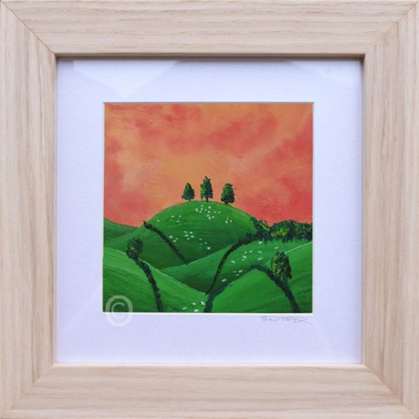 Orange Sunset No2 South Downs landscape art, oil painting framed in light wood