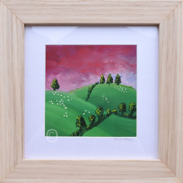 Purple Sunset No3 South Downs landscape art, oil painting framed in light wood