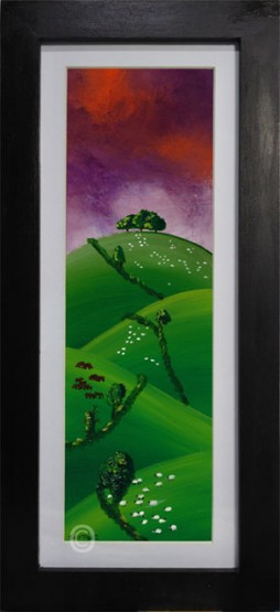 purple sunset on the south Downs oil painting in black framed