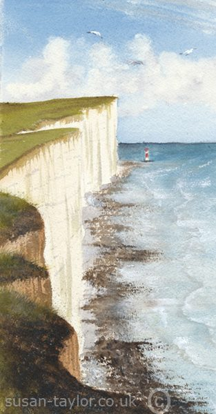 watercolour painting of Beachy Head Lighthousein East Sussex Near Eastbourne