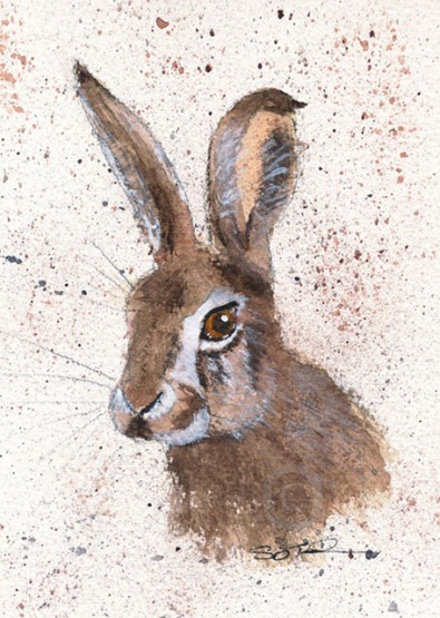 watercolour painting of a hare, hare art