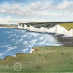 watercolour painting of the Seven Sisters in East Sussex from Belle Tout original art