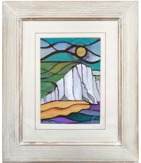 watercolour and ink painting of cuckmere haven in east sussex in stain glass style
