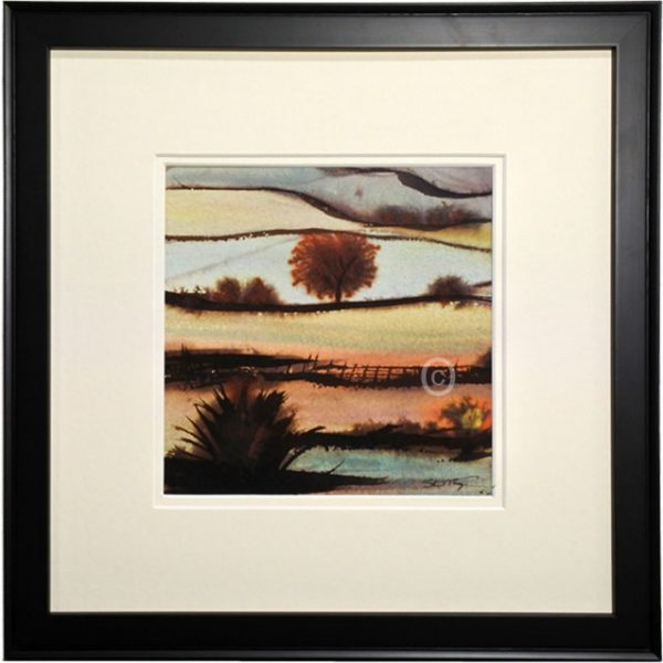 Watercolour painting of Sussex framed in black 34cm square with double off white mount