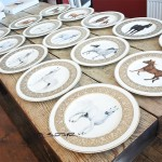 17 horses painted in oils of Harrods, Villeroy and Boch plates for interior designer in London