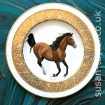 brown horse painted in oils on a harrods Villeroy and Boch plate