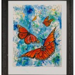 large watercolour painting of monarch butterflies on blue green mottled ground and adorned with gem flowers, confetti flowers, sparkle glazes and gold ink mounted on white card and black heavy carved frame