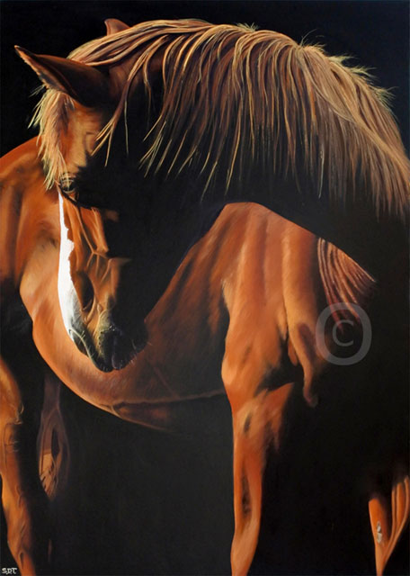 oil painting of a chestnut chestnut thoroughbred horse 80x60cm