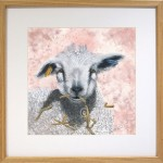 lamb original watercolour painting set in oak frame