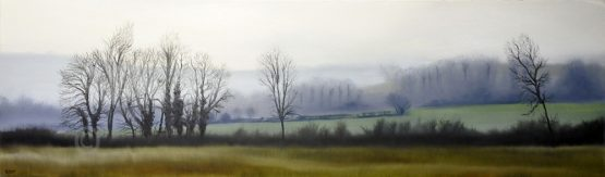 Misty river walk - landscape of a view in the cuckmere valley from the river oil on canvas by artist Susan Taylor