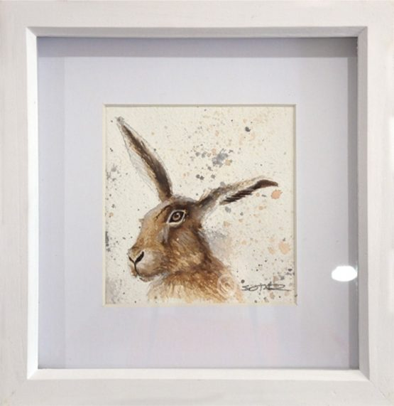 art watercolour painting of a british hare framed