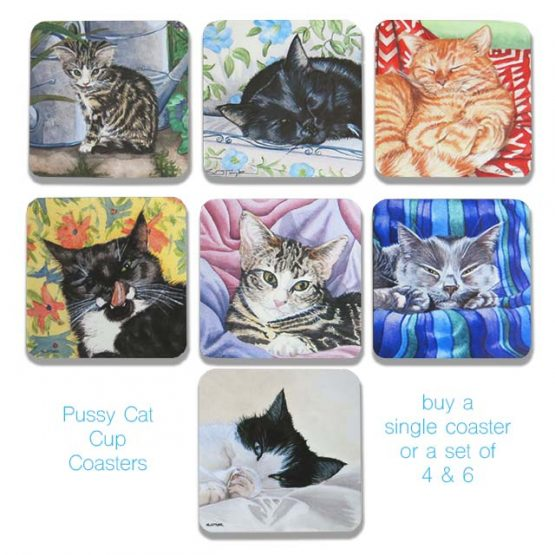 selection of cup coasters printed with watercolour portraits of domestic cat by artist Susan Taylor