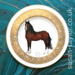 portrait of dark brown horse painted in oils on to a Harrods Villeroy Boch china dinner plate