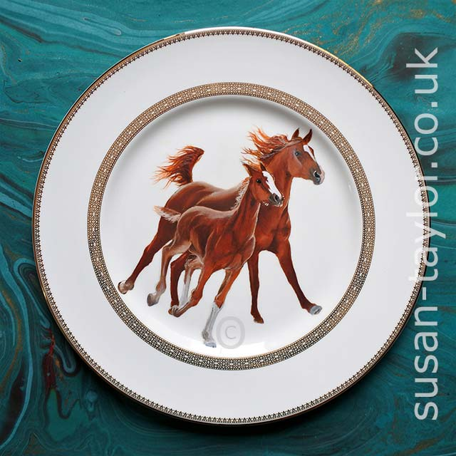 portrait of mare and foal Arabian horses painted in oils on to a Wedgwood china dinner plate designed by Vera Wang