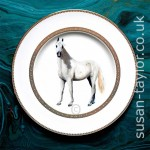 portrait of grey Arabian horse painted in oils on to a Wedgwood china dinner plate designed by Vera Wang